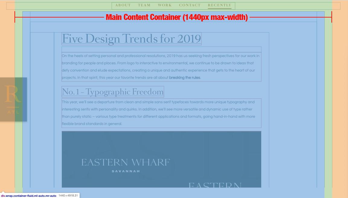 maximum width 1440px container